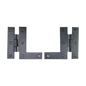 "Renovators Supply Manufacturing Pair Left and Right H-L Wrought Iron Cabinet Hinge 3 1/2"" H, 3/8"" Offset"