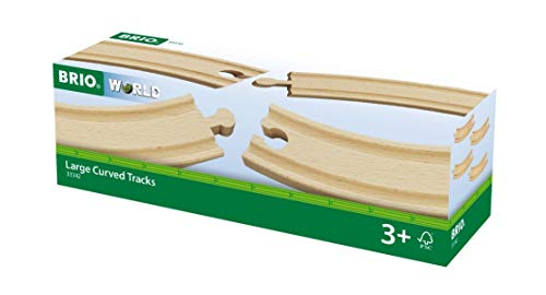 BRIO World 33342 - Large Curved Tracks - 4 Piece Toy Train Accessory for Kids Ages 3 and Up