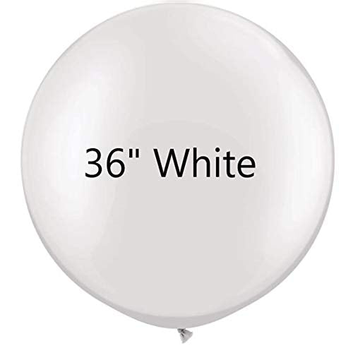36 inch White Latex Balloons Large Round Balloon for Birthday Wedding Party Decorations,6 pcs