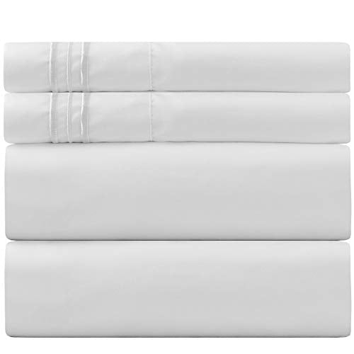 Sweet Sheets Bed Sheet Set Queen White - 1800 Double Brushed Microfiber Bedding - Wrinkle, Fade, Stain Resistant - Soft and Durable - All Season - 4 Piece (Queen, White)