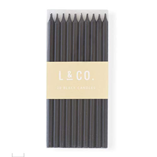 l&co 20 Count Tall Skinny Black Solid Birthday Cake Candles for Birthday Wedding Party Cakes Decorations