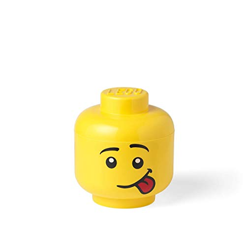 LEGO Storage Head Small, Silly, 6-1/2 x 6-1/2 x 7-1/3 Inches, Yellow