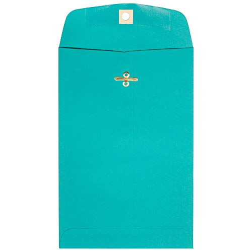 JAM PAPER 6 x 9 Open End Catalog Colored Envelopes with Clasp Closure - Sea Blue Recycled - 50/Pack