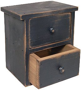 Black Distressed Wood Farmhouse Drawers Country Primitive Storage D閏or
