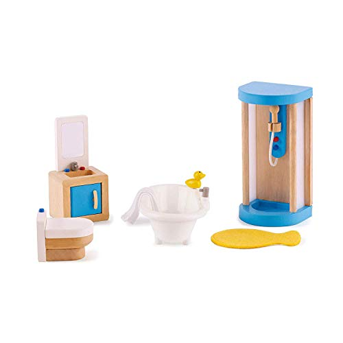 Hape Wooden Doll House Furniture Family Bathroom Set