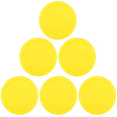 ONE250 3 1/4 inch Air Hockey Pucks, Full Size Goal Packs Replacement Accessories for Game Tables (6 Pcs) (Yellow)