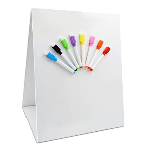 "Magnetic Tabletop Desktop Easel &Whiteboard with Bonus 8X Dry Erase Markers. Double Sided and Self-Standing (13"" X 12"")"