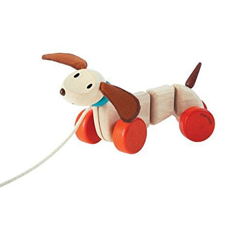 PlanToys Wooden Dancing Happy Puppy Pull Toy (5101) | Sustainably Made from Rubberwood and Non-Toxic Paints and Dyes
