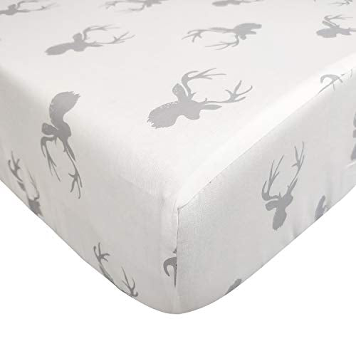 Brandream Baby Boy Girl Crib Sheet Woodland Deer Fitted Cotton Crib Sheet of Neutral Nursery Crib Bedding
