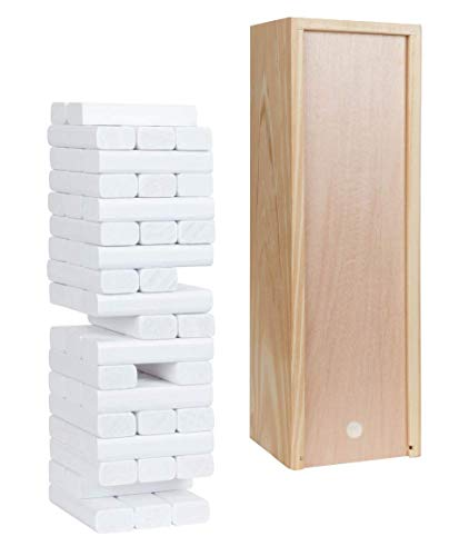 Wood Block Toppling Timbers Party Game - 12 in. Wooden Box & Die - White Blocks