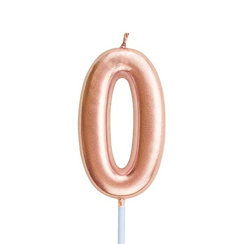 XNOVA Birthday Candles Ten Years Pink Happy Birthday Number 0 Candle for Cake Topper Decoration for Party Kids Adults Numeral 10 100 20 30 70 40 60 80 90 50