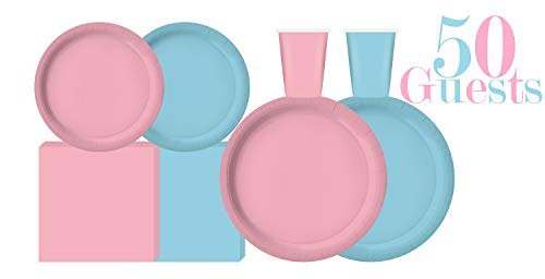 Serves 50 | Complete Party Pack | Light Blue and Light Pink | 9