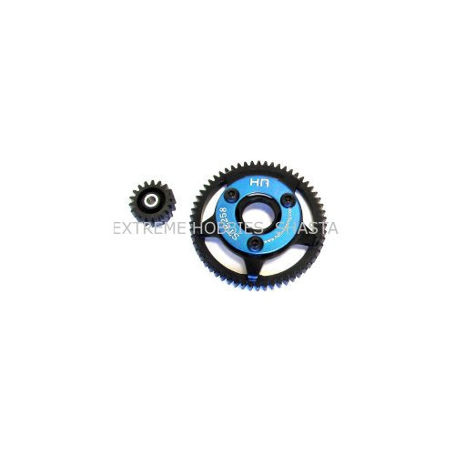 Hot Racing STE258 Steel Pinion and Spur Gear Set (18t/58t 32p)(Blue) - Traxxas