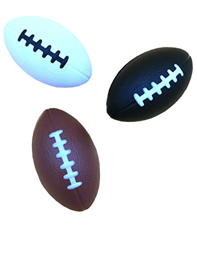 "LMC Products Foam Football - 4.75"" Mini Football - Small Football for Kids - Mini Footballs Party Favors – 3 Pack (Brown, White, Black)"