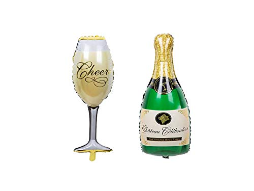 ZOOYOO Party Balloons Champagne Bottle Goblet Balloons For Party,Anniversary,Engagement Decorations,40