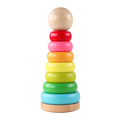 GEMEM Stacking Rings Toy Wooden Rainbow Stacker Toddler Learning Toys for 18 Months 2 Year Old Baby Boys Girls