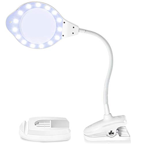 Joypea Magnifying Glass Lamp,2X-4X Magnifier LED Light with Clip and Flexible Neck,Magnifying Lamp USB Powered,Perfect for Reading,Hobbies,Task Crafts or Workbench- White