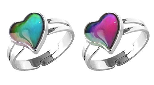 Acchen Mood Ring Heart Love for Couple Friendship Lover Changing Color Emotion Feeling Finger Rings 2 Packs with Gift Box