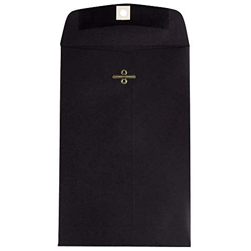 JAM PAPER 6 x 9 Open End Catalog Envelopes with Clasp Closure - Black - 50/Pack