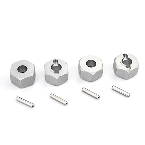 Hosim RC Wheel Hex, 12x7mm Hub Mount and Pins Aluminum fits 1/10 Traxxas Slash 4x4 5807 & HQ 727 RC Short Truck Replacement Upgrade Parts (4PCS Silver)