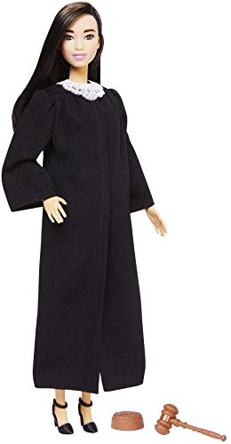 Barbie Judge Doll, Long Straight Brunette, Wearing Black Robe with Gavel and Block, for 3 to 7 Year Olds