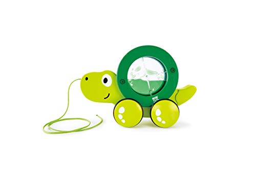 Hape Tito Pull Along | Wooden Turtle with Swirling Shell Pull Toddler Toy, Green