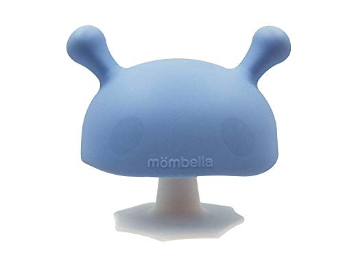 Mombella Mimi The Mushroom Super Soft Skin-Like Infant Nipple Shaped Soothing teether for Sucking Babies,Help with Breast Feeding waning and Prevent Digit Sucking. for 0-6months. Light Blue