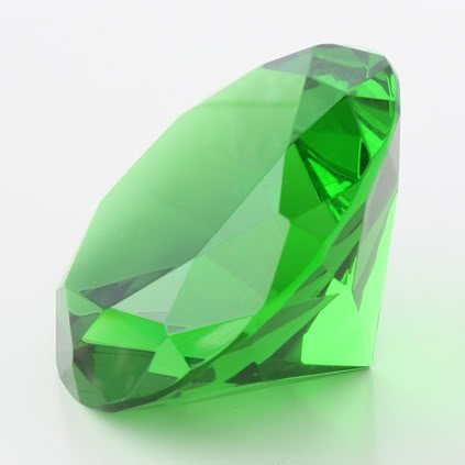 1 X GREEN GLASS DIAMOND SHAPED PAPERWEIGHT 3.15 INCHES (80 MM)