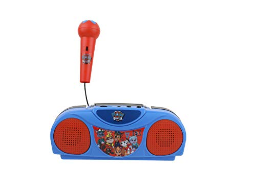 Sakar Paw Patrol Kids Karaoke Machine with Radio KO1-03371 Compatible with iPod and MP3 Player, AM FM Portable Radio, Includes Corded Microphone for Kids, Durable Handle, Red/Blue Design