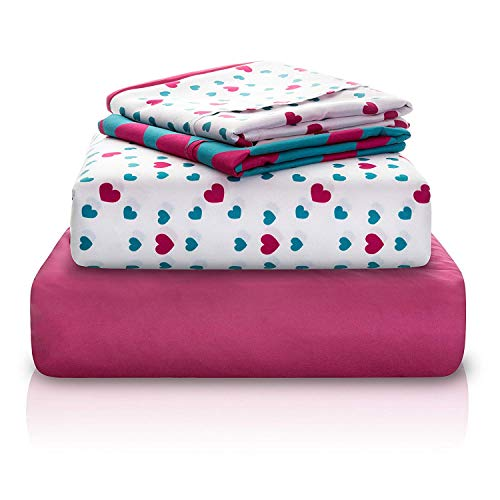 "Chital Twin Bed Sheets for Girls | 4 Pc Red & Green Hearts Print | 1 Flat & 1 Fitted Sheet, 2 Pillow Cases | Durable Super-Soft, Double-Brushed Microfiber | 15"" Deep"