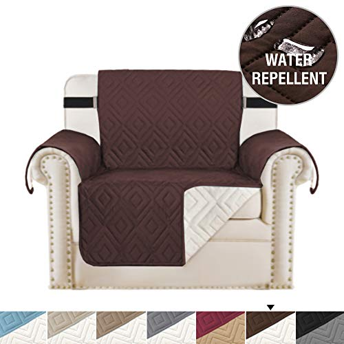 H.VERSAILTEX Reversible Chair Cover Furniture Protector Anti-Slip Couch Cover Water Resistant 2 Inch Wide Elastic Straps Chair Slipcover Pets Kids Fit Sitting Width Up to 21