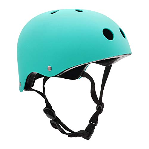 FerDIM Skateboard Helmet, Kids/Adult Bike Helmet with Removable Liner Skiing, Adjustable Straps CPSC Certified for Skateboard, Scooter, Skating, Cycling (Light Blue, Large: 22.4