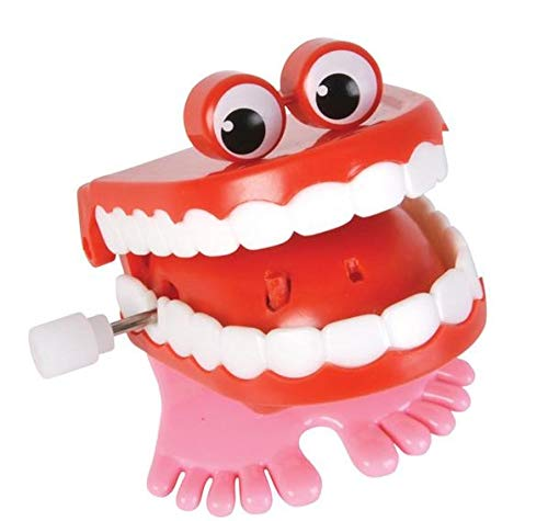 Rhode Island Novelty Chatteng Chomping Wind Up Toy Walking Teeth with Eyes Two Included
