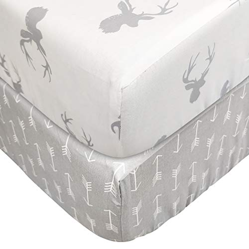 Brandream Crib Sheets for Boys Girls Fitted Cotton Baby Crib Sheet Sets 2 Packs, Deer Head & Arrow Printed, White & Gray