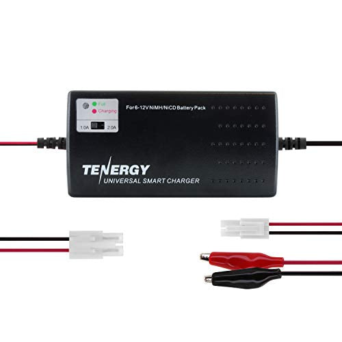 Tenergy Universal RC Battery Charger for NiMH/NiCd 6V-12V Battery Packs, Fast Charger for RC Car, Airsoft Batteries, Compatible with Standard Size Tamiya/Mini Tamiya/Alligator Clips Connectors 01025