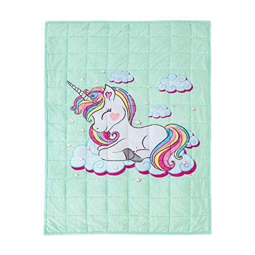 BUZIO Kids Weighted Blanket 5lbs, Unicorn Fleece Blanket for Kids with 4 Color Options, Ultra Soft and Cozy Heavy Blanket, Great for Calming and Sleep, 36x 48inch