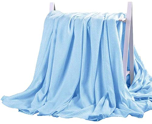 DANGTOP Cooling Blankets, Cooling Summer Blanket for Hot Sleepers, Ultra-Cool Cold Lightweight Light Thin Bamboo Blanket for Summer Night Sweats (59X79 inches,Small Blue)