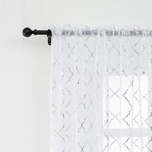 Anjee 45 Inch Sheer Curtains with Silver Moroccan Pattern Rod Pocket for Kitchen, Dining Room, Home D�cor Semi Drapes 52 x 45 inches White