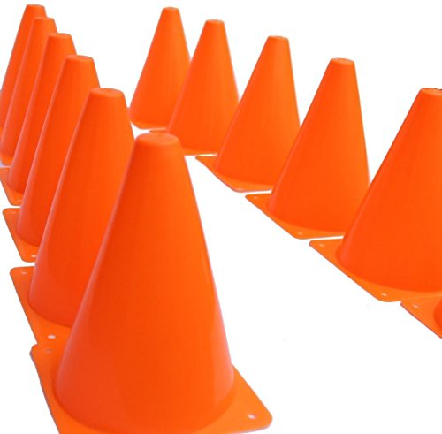 Fun Express Orange Traffic Cones - Set of 12 - Great for Kids Sports, Games and Toys