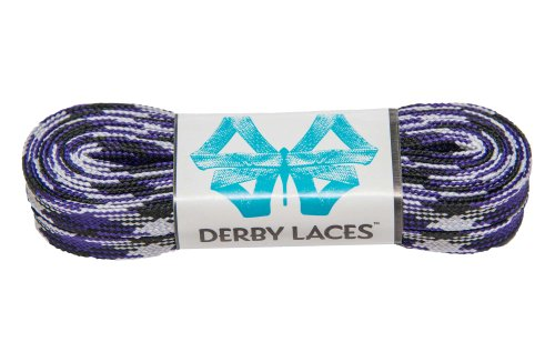 Derby Laces Purple Camouflage - Flat, 10mm Wide, for Boots, Skates, Roller Derby, and Hockey Skates (45 Inch / 114 cm)