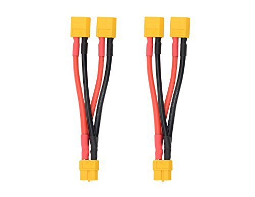 WMYCONGCONG 2 PCS XT60 Parallel Battery Connector Cable Dual Extension Y Splitter Male to Female for DJI Phantom RC Plane