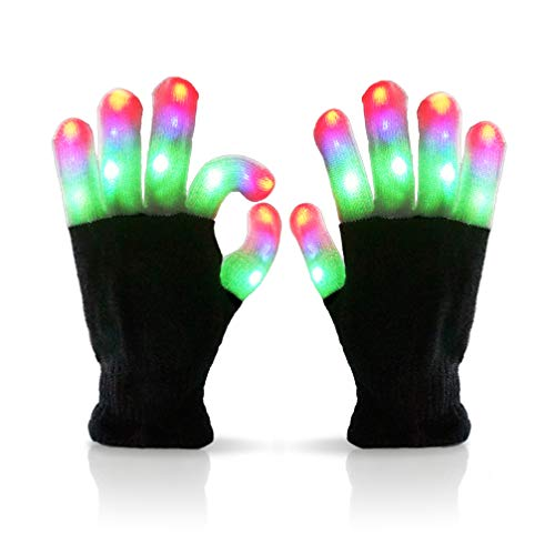 Luwint Little Kids LED Gloves Finger Light Up Gloves - Amazing Colorful Glow Flashing Novelty Toys with Extra Batteries, 3 4 5 6 Years