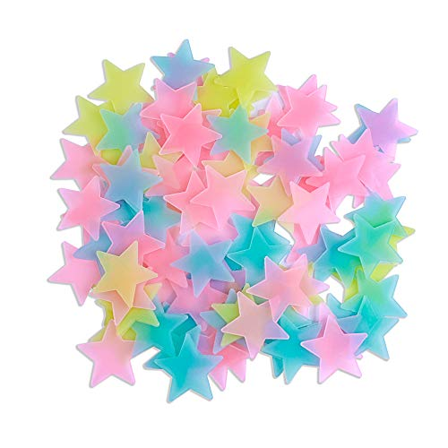 Amaonm 100 Pcs Colorful Glow in The Dark Luminous Stars Fluorescent Noctilucent Plastic Wall Stickers Murals Decals for Home Art Decor Ceiling Wall Decorate Kids Babys Bedroom Room Decorations