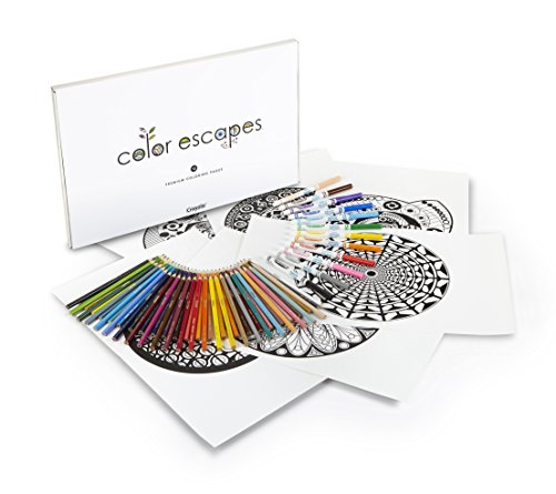 Crayola Color Escapes Coloring Pages & Pencil Kit, Kaleidoscopes Edition, 12 Premium Pages, 12 Fine Line Markers, 50 Colored Pencils, Adult Coloring, Art Activity Set