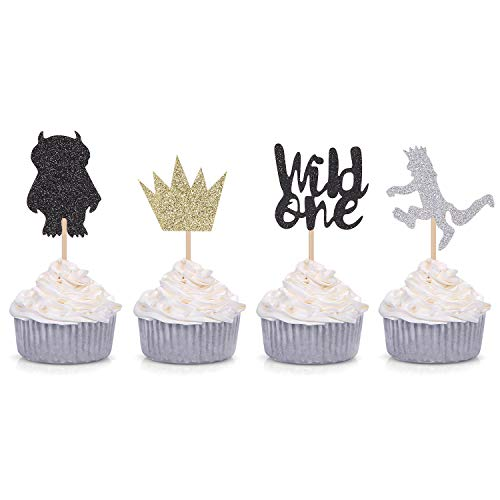Where the Wild Things Are Inspired Cupcake Toppers Wild One Cupcake Picks Baby's First Birthday Party Decorations