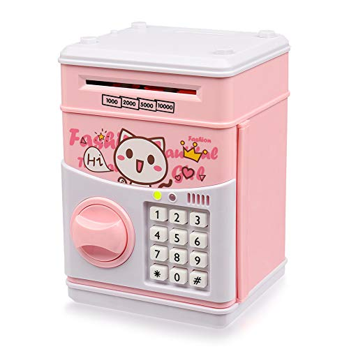 Yoego Kids Money Bank, Electronic Piggy Banks, Great Gift Toy for Kids Children, Paper Auto Scroll Money Saving Music Box Password Coin Bank,Perfect Toy Gifts for Boys Girls (Pink-cat)