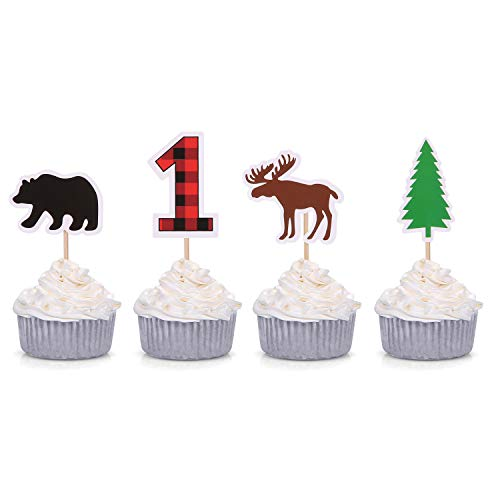 Woodland First Birthday Cupcake Toppers Lumberjack Buffalo Plaid Baby Bear Wild One Decorations