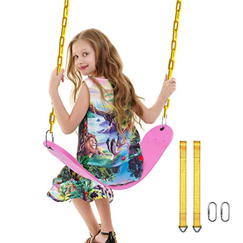 PACEARTH Swing Seat Support 660lb with 68.9 inch Anti-Rust Chains Plastic Coated 23.6 inch Tree Hanging Straps and Locking Buckles Outdoor Playground Tree Swing-Pink