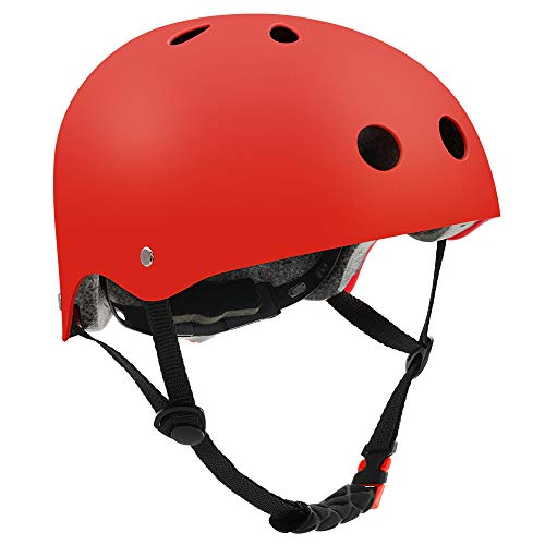 FerDIM Skateboard Helmet, Kids/Adult Bike Helmet with Removable Liner Skiing, Adjustable Straps CPSC Certified for Skateboard, Scooter, Skating, Cycling, Roller Skate,Skiing, Size Large Red