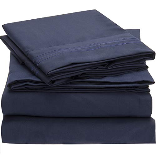 Mellanni Bed Sheet Set - Brushed Microfiber 1800 Bedding - Wrinkle, Fade, Stain Resistant - 3 Piece (Twin, Royal Blue)